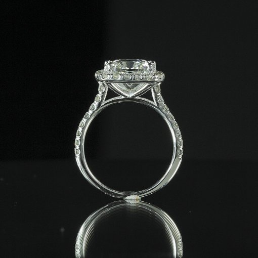 2.15ct GIA  18K White Gold Cushion Diamond Engagement Ring F/VS2