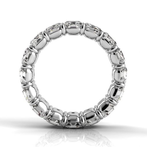 5.0 TCW Emerald Diamond Petite Prong Set Eternity Band in White Gold (H-I COLOR, VS2-SI1 CLARITY)