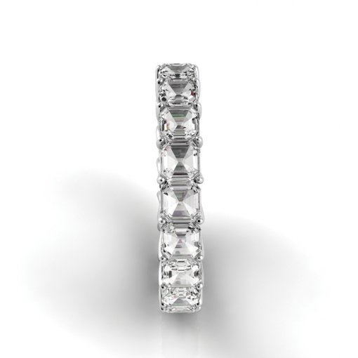 5 TCW Asscher Diamond Trellis Set Eternity Band in White Gold (F-G COLOR, VS2 CLARITY)