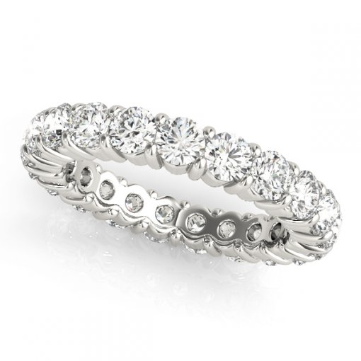 2.5 TCW Round Diamond Shared Prong Set Eternity Band in Platinum (G-H COLOR, VS2-SI1 CLARITY)