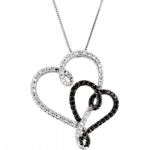 Black & White Diamond Double Heart Necklace in 14K White Gold