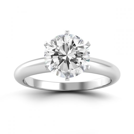 Six V-Pronged Diamond Engagement Ring for Round Brilliant Cut Diamond