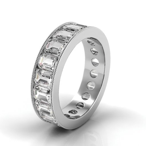 7.5 TCW Emerald Diamond Channel Set Eternity Band in White Gold (F-G COLOR, VS2 CLARITY)