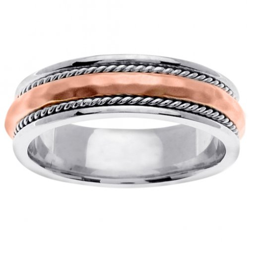 Two Tone Gold Hammer Finish Cord Arched Center Wedding Band 5mm