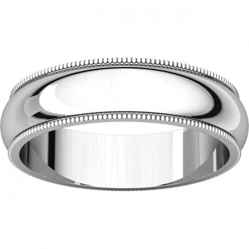 14K White Gold 5mm Comfort Plain Classic Milgrain Wedding Band
