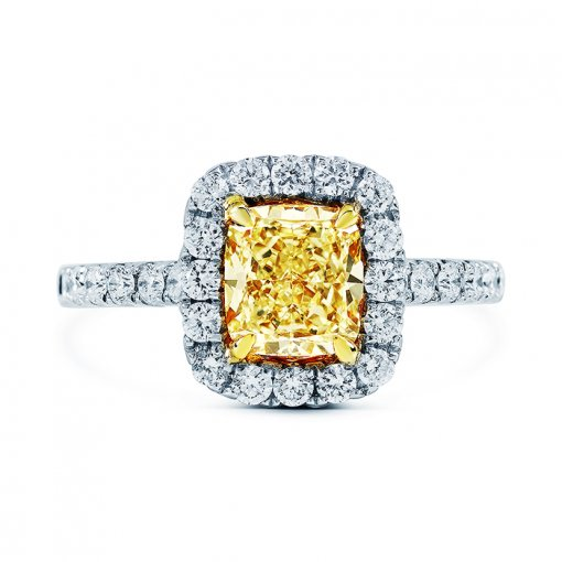 2.25ctw Fancy Yellow Cushion Cut Diamond Engagement Ring VS1 EGL USA