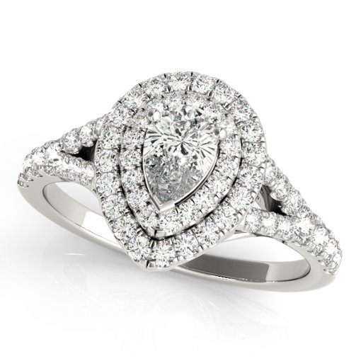 0.45ct Split Shank Double Pear Diamond Pave Halo Engagement Ring