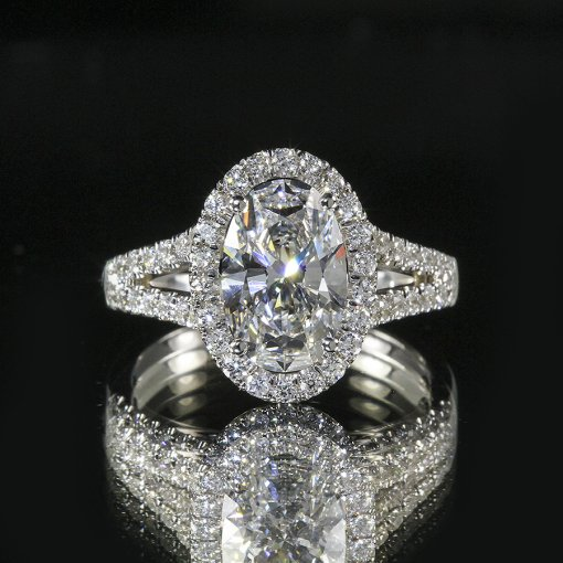 2.65ct GIA  18K White Gold Oval Cut Diamond Engagement Ring H/SI2