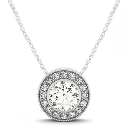 Diamond Halo Shared Prong Pave Set Milgrain Pendant CTW 0.41