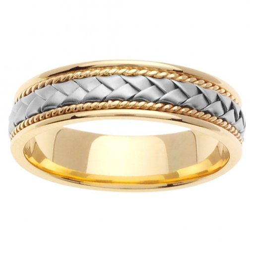 Two Tone Gold Hand Braided Weave Wedding Band 5mm