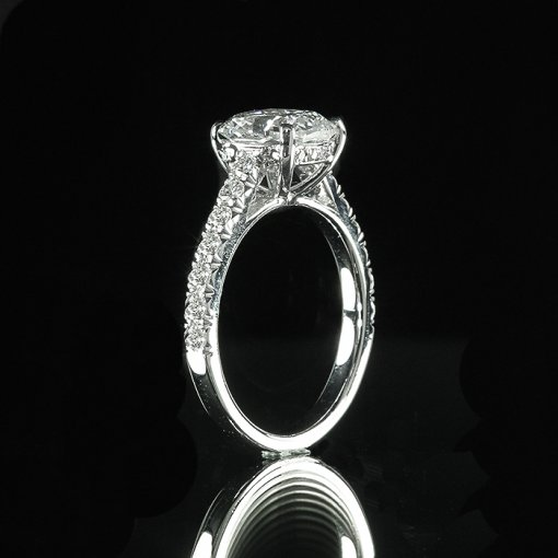 2.66ct GIA Cushion 18K White Gold French Pave Engagement Ring H/SI1