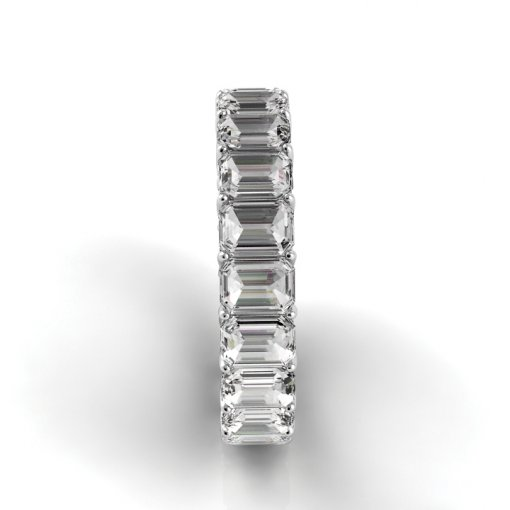 4.5 TCW Emerald Diamond Trellis Set Eternity Band in White Gold (F-G COLOR, VS2 CLARITY)