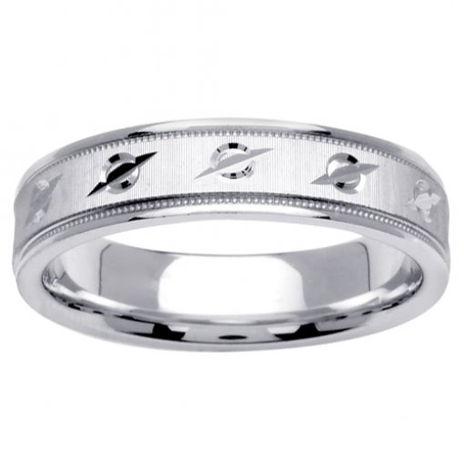 White Gold Textured and Carved Design Milgrain Wedding Band 4.5mm