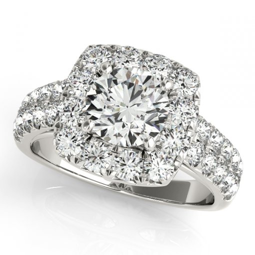 1.00ctw French Pave Diamond Pave Halo Two Row Band Engagement Ring