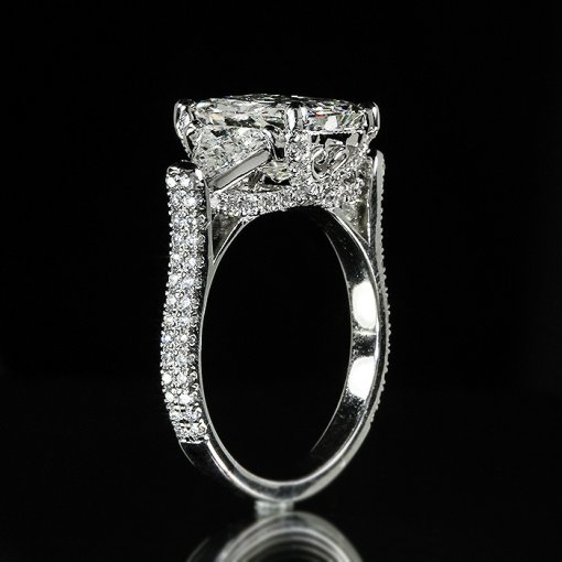 4.61ct GIA Radiant Trillion 3 Stone 18k Gold Pave Engagement Ring  F/VS2