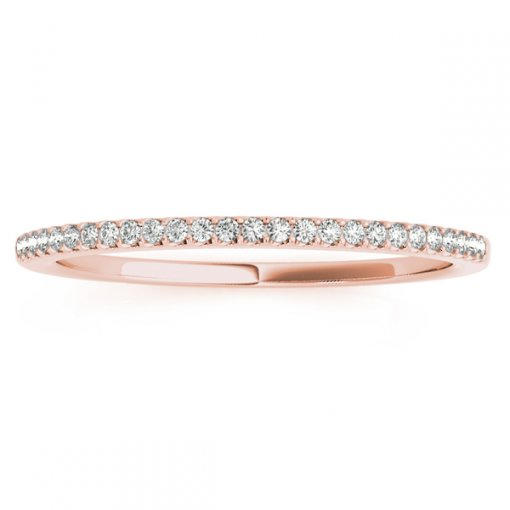 0.08ct Round Micro Pave Set Diamond Wedding Ring