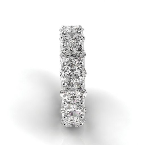 5.5 TCW Oval Diamond U-Prong Set Eternity Band in White Gold (F-G COLOR, VS2 CLARITY)