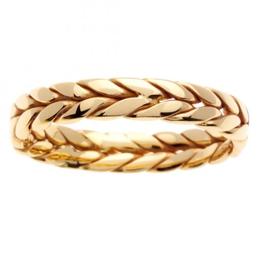 Yellow Gold Wheat Braid Wedding Ring 4mm