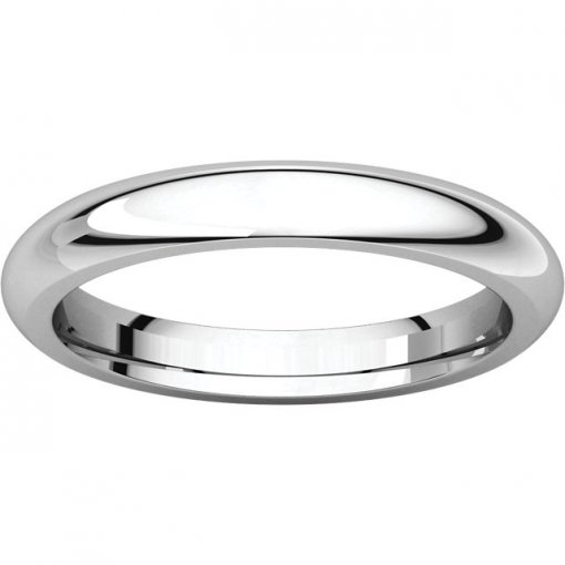 14K White Gold 3mm Comfort Plain Classic Wedding Band