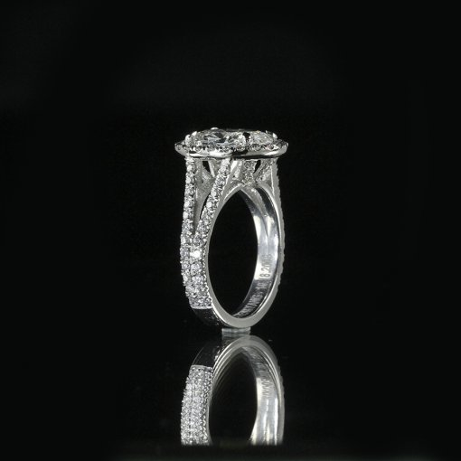 2.85ct GIA  18K White Gold Oval Cut Diamond Engagement Ring G/SI2