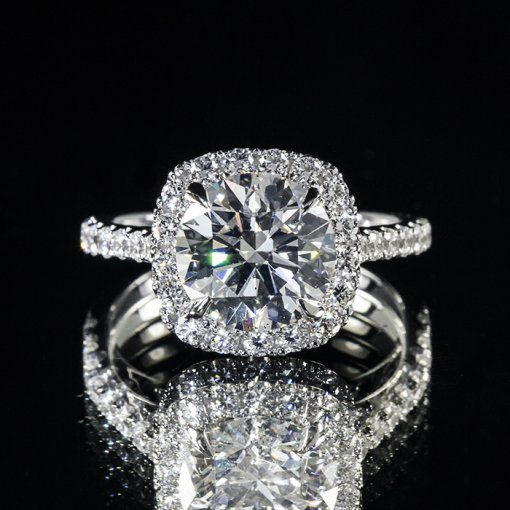2.87ct GIA Round 18K Gold Rounded Corner Halo Pave Engagement Ring G/VS2