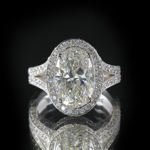 2.25ct GIA  18K White Gold Oval Cut Diamond Engagement Ring F/SI1