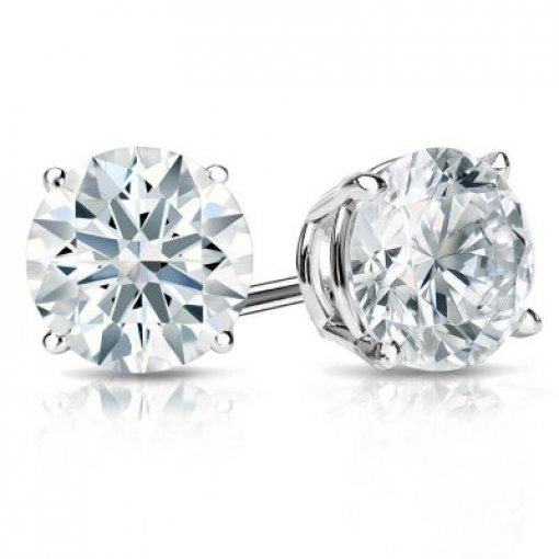 1.41 Carat Round Diamond Studs in White Gold (ICOLOR, SI1 CLARITY)