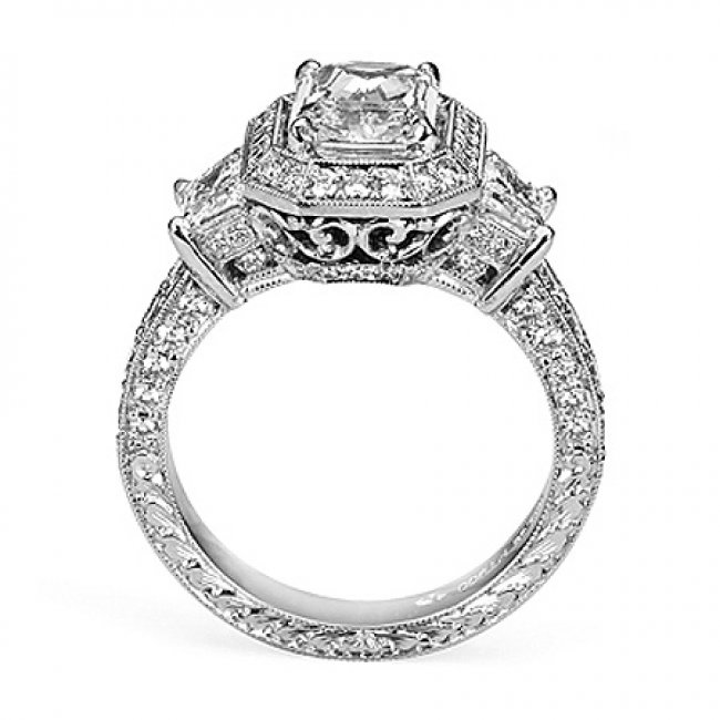 Semi Mount Vintage Style Halo Pave Diamond Engagement Ring With 150 Carat Total Weight Of Round Cut Diamonds