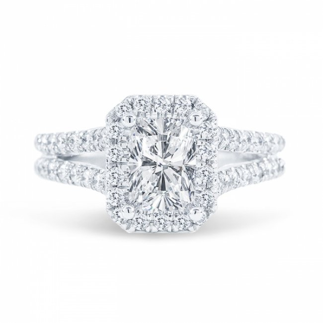 1 65ct Cushion Cut G Si1 Diamond In Split Shank Halo Engagement Ring With U Prong Set Also Available In Emerald Or Radiant Cut