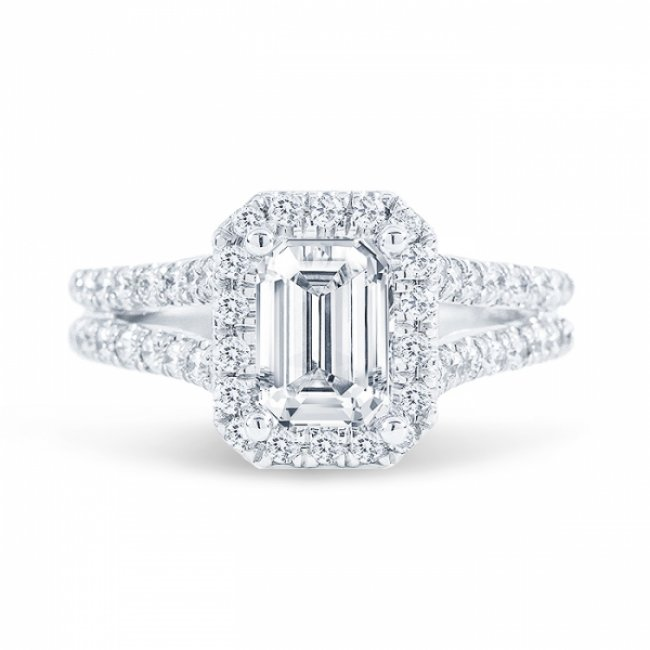 2 11ct Emerald Cut F Vs2 Diamond In Split Shank Halo Engagement Ring With U Prong Set Also Available In Cushion Or Radiant Cut