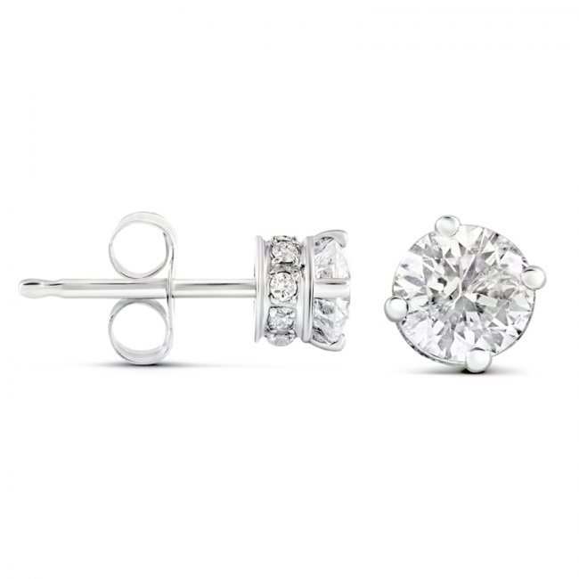 1 00ct Total Pave Style Round 4 G Diamond Stud Earrings 14k White Gold