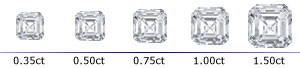 Asscher Cut Prong Stud Earrings Scale