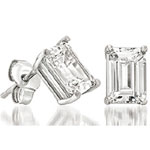Emerald Cut Prong Stud Earrings