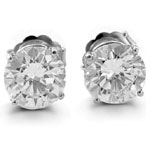 Round Cut Prong Stud Earrings